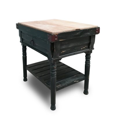 Brunton Kitchen Island with Butcher Block Top Base Finish: Black