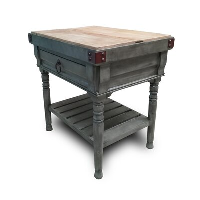 Brunton Kitchen Island with Butcher Block Top Base Finish: Gray