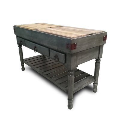 Brunton Kitchen Island with Butcher Block Base Finish: Gray