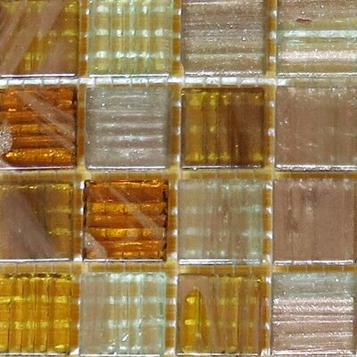 0.75 x 0.75 Glass Mosaic Tile in Brown/Gold