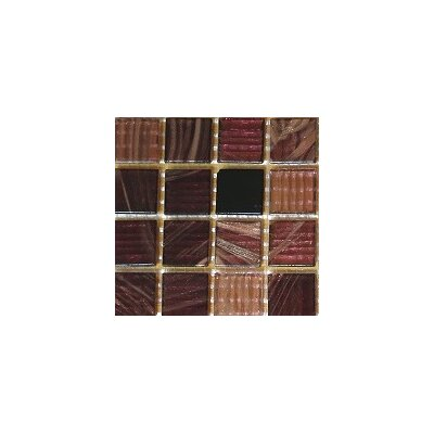 0.75 x 0.75 Glass Mosaic Tile in Brown/Black/Beige