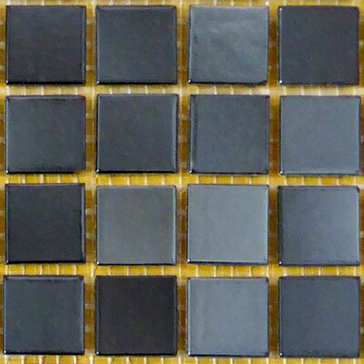 0.75 x 0.75 Glass Mosaic Tile in Black/Gray