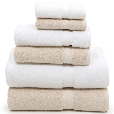 Toscano 6 Piece Towel Set Color: Beige/White