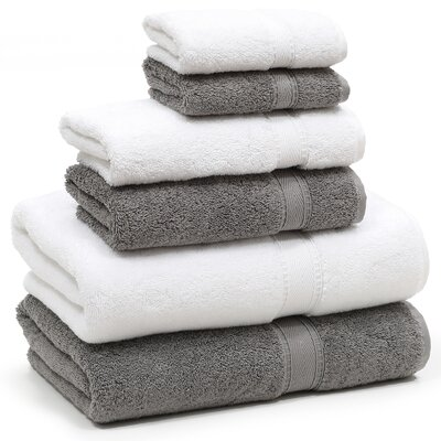 Toscano 6 Piece Towel Set Color: Dark Gray/White