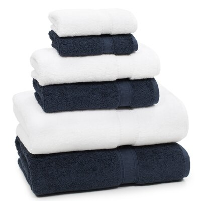 Toscano 6 Piece Towel Set Color: Navy/White