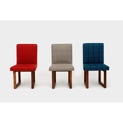 Wood Houndstooth Upholstered Dining Chair Upholstery Color: Peacock
