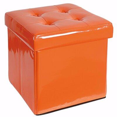 Woody Folding Storage Ottoman Upholstery: Orange