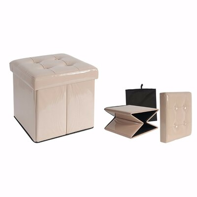 Woody Folding Storage Ottoman Upholstery: Off-white