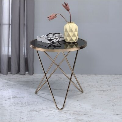 Brockman Frosted Glass and Champagne End Table Table Top Color: Black