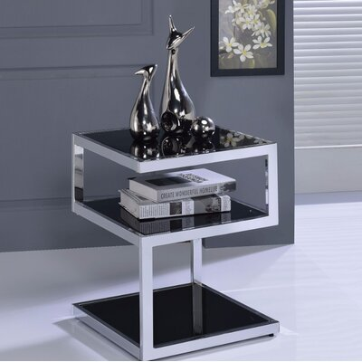 Crowley Frosted Glass and Champagne End Table Table Top Color: Black
