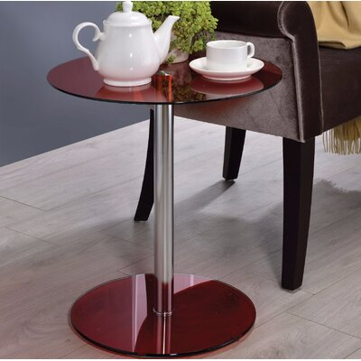 Crowther Glass and Chrome End Table Table Top Color: Red