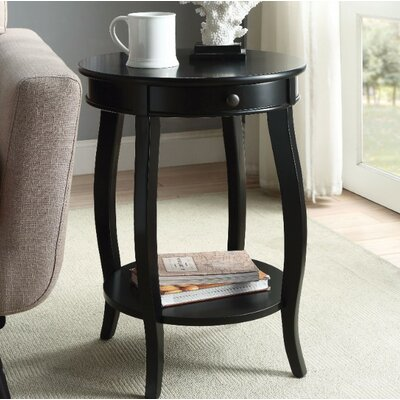 Fortunato End Table Table Top Color: Black