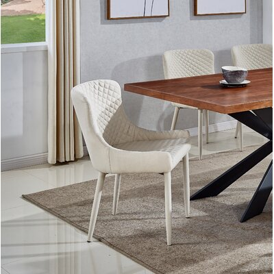Shavon Upholstered Dining Chair (Set of 2) Upholstery Color: Oatmeal Fabric