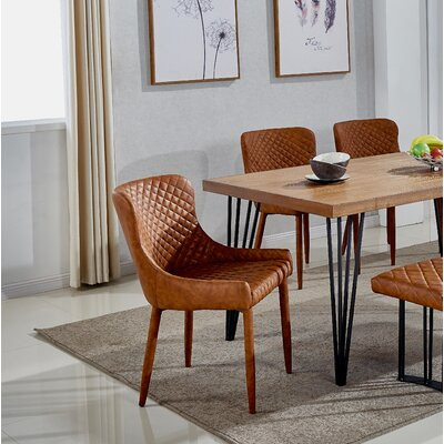 Shavon Upholstered Dining Chair (Set of 2) Upholstery Color: Cognac Vintage PU