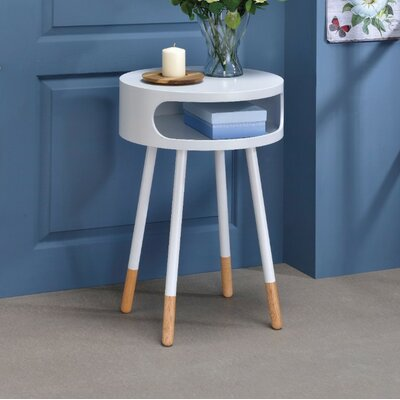 Image of Ferrin Natural Round End Table Table Top Color: White