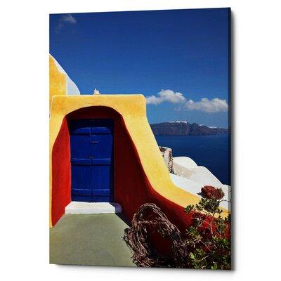 'Blue Door on the Shores of Santorini' Photographic Print on Canvas 9FAAB43101A340B8AD714B2102C3E180