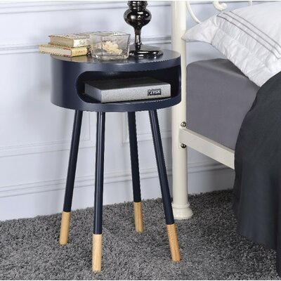 Image of Ferrin Natural Round End Table Table Top Color: Black