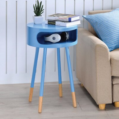 Image of Ferrin Natural Round End Table Table Top Color: Blue