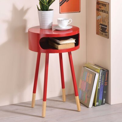 Ferrin Natural Round End Table Table Top Color: Red