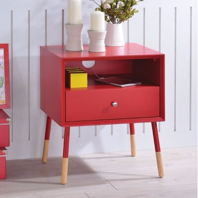 Ferris End Table Table Top Color: Red
