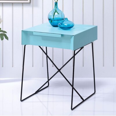 Battiste End Table Table Top Color: Blue