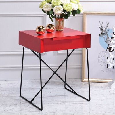 Battiste End Table Table Top Color: Red