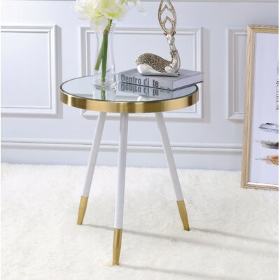 Brockton Mirror Antique Round End Table Table base color: Clear