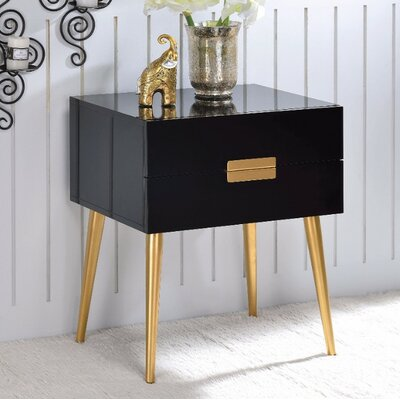 Keithley 1 Drawer Nightstand Color: Black