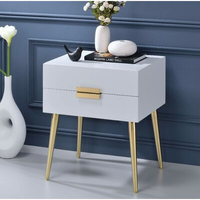 Keithley 1 Drawer Nightstand Color: White