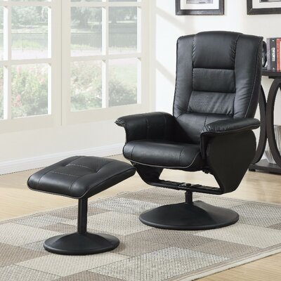 Crossland 2 Piece Manual Recliner Chair with Ottoman Upholstery Color: Black