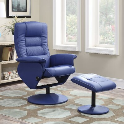 Crossland 2 Piece Manual Recliner Chair with Ottoman Upholstery Color: Blue