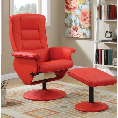 Crossland 2 Piece Manual Recliner Chair with Ottoman Upholstery Color: Red