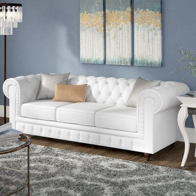 Elstone Tufted Back Chesterfield Sofa Upholstery: Bright White