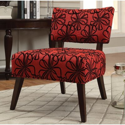 Frigon Armless Slipper Chair Upholstery Color: Red