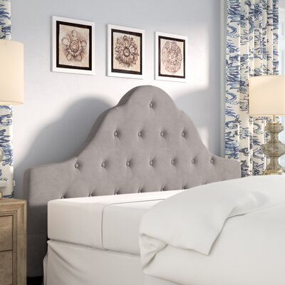 Grimsby Decorative Glam Upholstered Panel Headboard Size: Queen, Upholstery: Cream