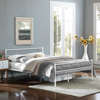 Geller Full Platform Bed Frame Color: White