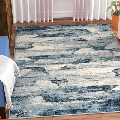 Esqueda Cracked Lines Blue Area Rug Rug Size: 710 x 106