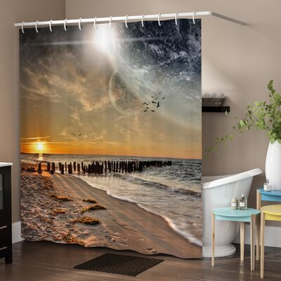 Space Magical Solar Eclipse Shower Curtain Size: 69 W x 70 L