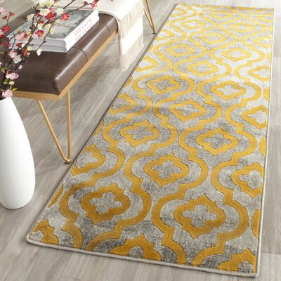Manorhaven Light Gray/Yellow Area Rug Rug Size: Runner 24 x 67