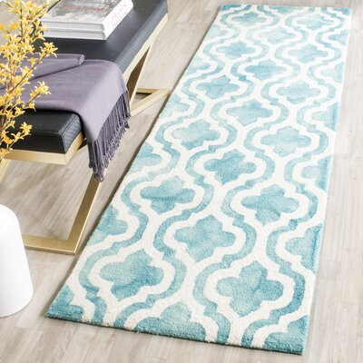 Euphemia Hand-Tufted Turquoise/Ivory Area Rug Rug Size: Runner 23 x 8