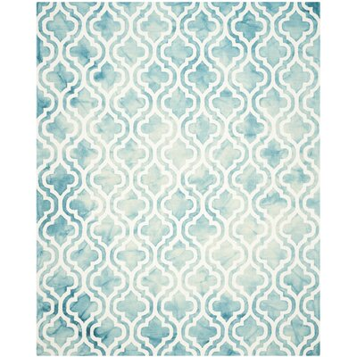 Euphemia Hand-Tufted Turquoise/Ivory Area Rug Rug Size: Rectangle 8 x 10