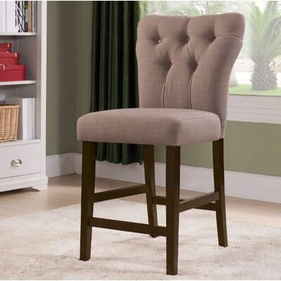 Jamil Counter Height Side Chair Upholstery Color: Light Brown