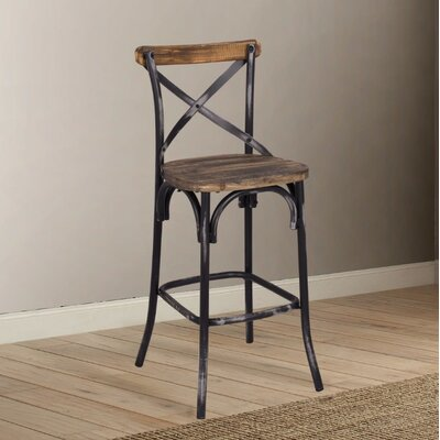 Leonetti Walnut and Antique Bar Stool Color: Black
