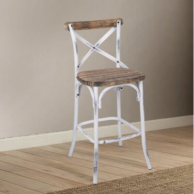 Leonetti Walnut and Antique Bar Stool Color: White