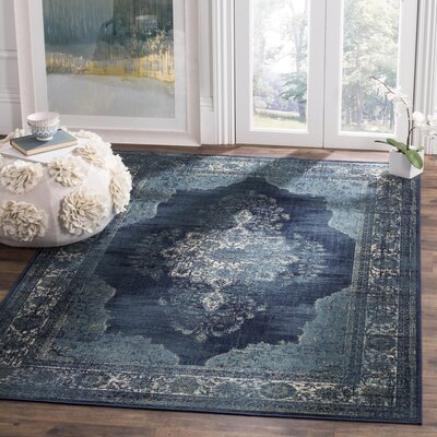 Moores Vintage Navy Area Rug Rug Size: Rectangle 4 x 57