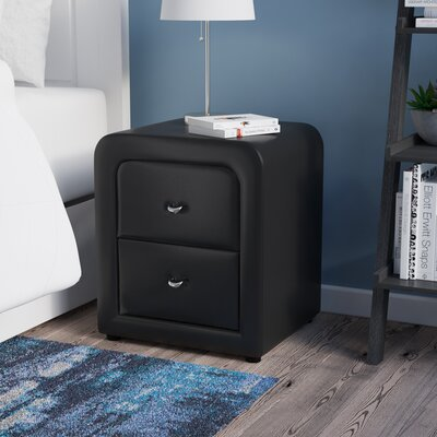 Melillo 2 Drawer Nightstand Color: Black