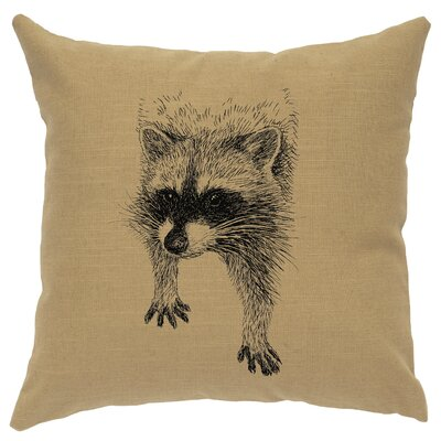 Nagata Raccoon Throw Pillow Color: Straw