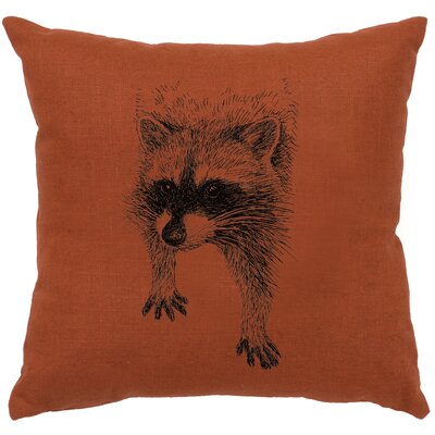 Nagata Raccoon Throw Pillow Color: Paprika