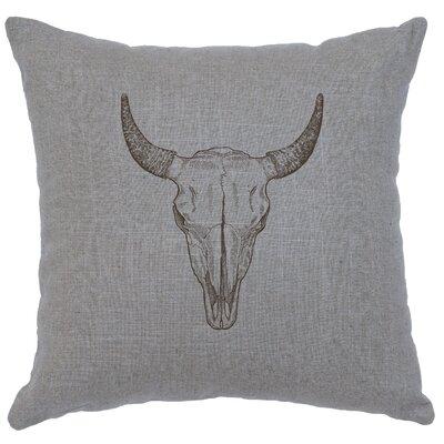 Lansdown Bull Skull Throw Pillow Color: Gray