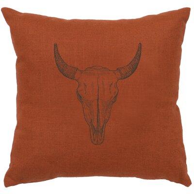 Lansdown Bull Skull Throw Pillow Color: Paprika